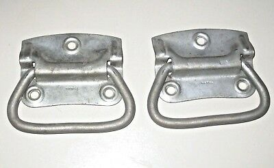 Pair Vintage Primitive Steel Drop Handles Pulls Chest Trunk Salvage Made in USA