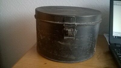 Vintage Military Round Tin Box, Hinged Lid. Charity Sale