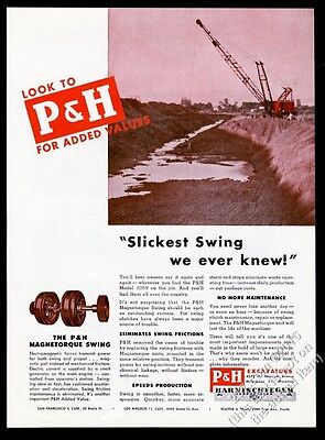 1947 P&H model 1055 lattice boom crane photo vintage print ad