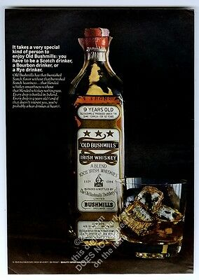 1963 Old Bushmills Irish whiskey bottle and rocks glass photo vintage print ad