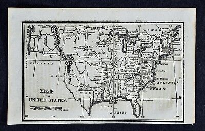 1830 Nathan Hale Map - United States - 24 States - West Territories Texas Boston