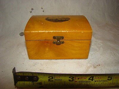 Antique Mauchline Ware Dome Small Sewing Box  Blue Hill Maine, Very Good