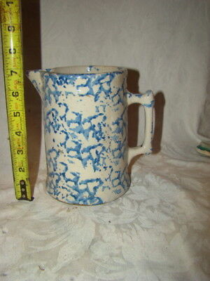 Antique Spongeware Blue & White Handle Milk Pitcher 7""