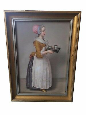 Antique KPM Hand Painted Porcelain Plaque of a Girl Serving Chocolate