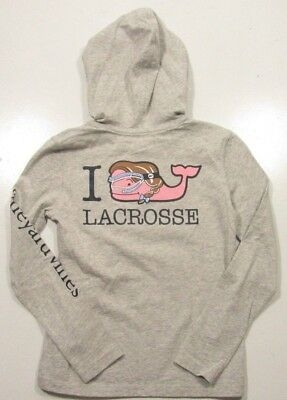 Vineyard Vines Girls L/S Light Heather Gray I Whale Lacrosse Hooded Pocket Shirt