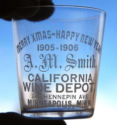 A.m. Smith 1905-1906 Merry Christmas Happy New Year Pre-Pro Whiskey Shot Glass