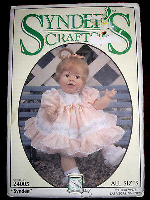 """SYNDEES CRAFTS """"Syndee"""" Baby Doll Dress 21"""", 16"""" 10"""" Pattern 24005 UC"""