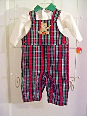 NWT Little Wonders Infant Boys Christmas Plaid Overalls & Shirt Outfit 3-6 Mos.