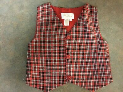Toddler Child's Strasburg Vest Of Red Plaid And Lined Size 2Y    (1)