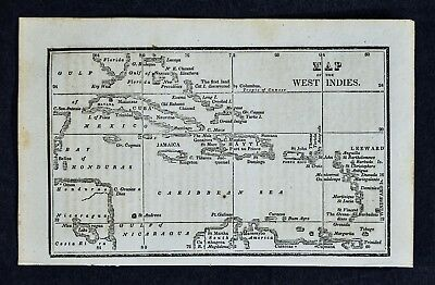 1830 Nathan Hale Map West Indies Cuba Jamaica Florida Keys Bahamas Caribbean Sea