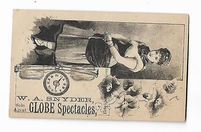 Old Trade Card GLOBE SPECTACLES WA Snyder Belvidere NJ Watchmaker Clocks Jeweler