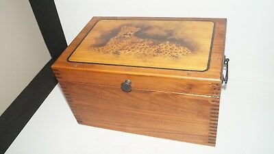 Beautiful Vintage Wood Dovetail Storage Hinged Box With Leopard Cheetah Design
