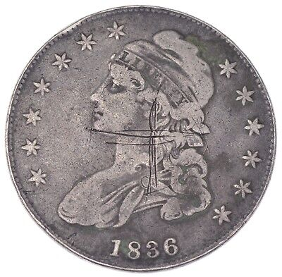 Rare - 1836 BUST Half Dollar - Great Detail - United States Type Coin *951