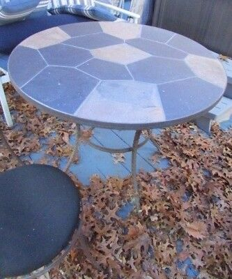 Slate Stone Top Cast Iron 3 Piece Patio Table With 2 Chairs Bistro Set