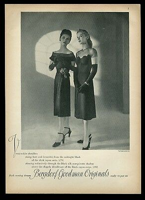 1943 2 black evening dress Fernand Fonssagrives photo Bergdorf Goodman print ad