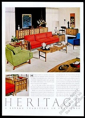 1961 Heritage Furniture modern sofa chair table cabinet photo vintage print ad