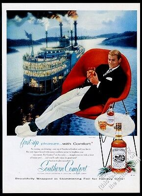 1957 Southern Comfort liquor bottle riverboat steamboat Saarinen chair photo ad