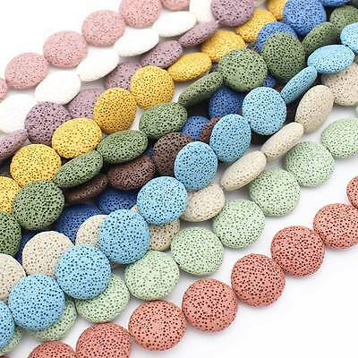 Multi-Color Volcanic Lava Stone Coin Shape 20mm,26mm,32mmLoose Beads 15""