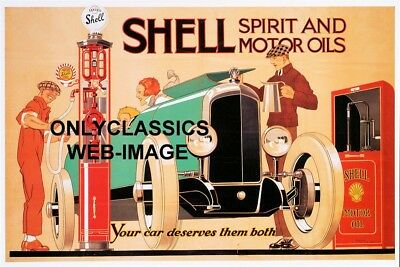'26 Art Deco Shell Gas Station Pump Motor Oil Graphic Poster Automobilia Classic