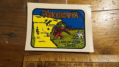 Vintage Travel Sticker Water Decal MINNESOTA,Lakes,Map, Camper,Car,Luggage