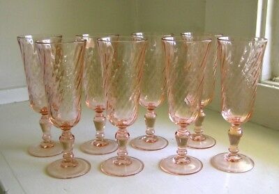 Set of 8 Luminarc Arcoroc Rosaline Pink Swirl Champagne Flutes ~ New Year's Eve!