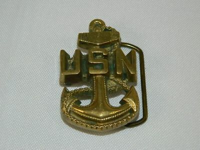 USN Anchor Gold Tone Solid Brass Belt Buckle Baron Buckle 6078