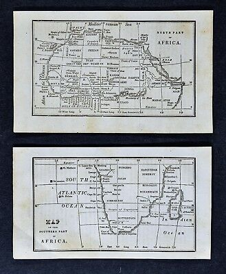 1830 Nathan Hale Maps x 2 - Africa - Cape Town South Congo Guinea Algiers Egypt