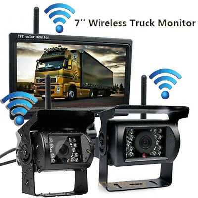 "2 x Wireless IR Night Vision Rear Backup Camera System + 7"" Monitor For RV Truck"