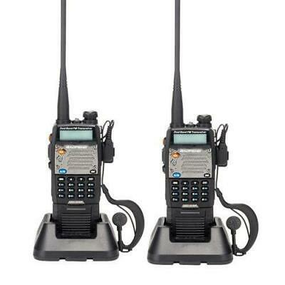 2 PCS BAOFENG UV-5XP Two-way Radio 8W/5W/1W Ham Dual-band Walkie Talkie Earphone