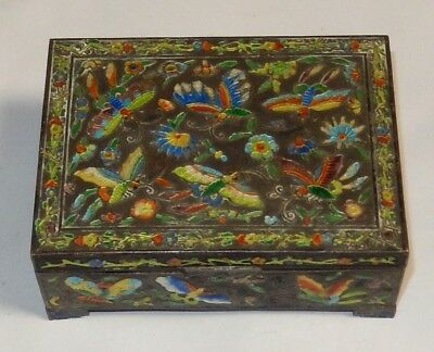 Old Chinese Cloisonne Repousse Enamel Butterfly Design Humidor Jar Box