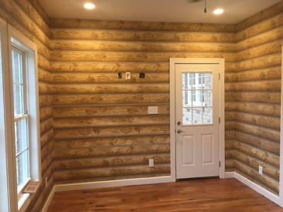 "Log Cabin Wallpaper Prepasted Double Roll 27""x 324"" Light to Medium Brown,..."