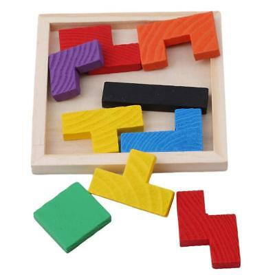 Wooden IQ Game Jigsaw Intelligent Tangram Teaser Puzzle Kid Educational Toy LC