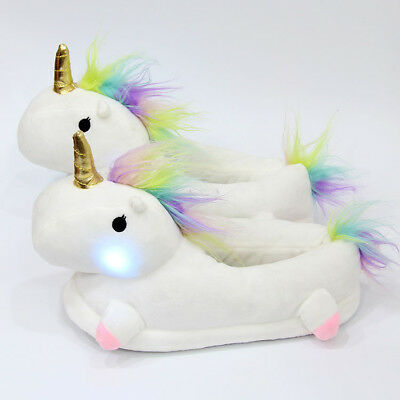 Women Ladies Cute Soft Plush LED Light Up Warm Glow Novelty Unicorn Slippers