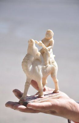 Old White Marble Camel Rider Fine Quality Handcrafted Figurine