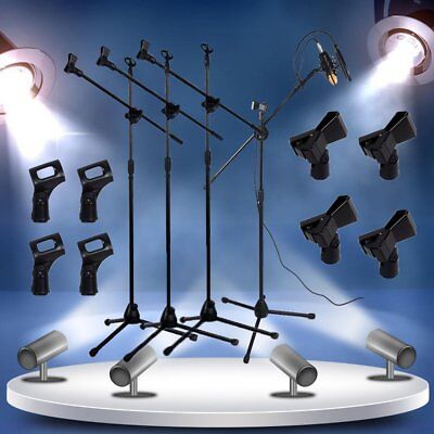 4 Pack Microphone Stand Dual Mic Clip 360-degree Rotating Boom Arm Tripod S2
