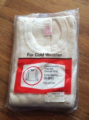 Vintage 60s 70s Thick  Sears Thermal Long John Underwear Shirt USA L NEW NOS