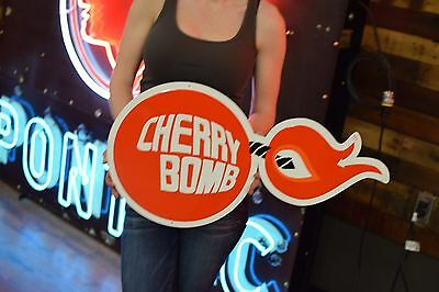 OEM Cherry Bomb Sign Exhaust Muscle Car NOS new Tin Gas Oil Service Garage RARE
