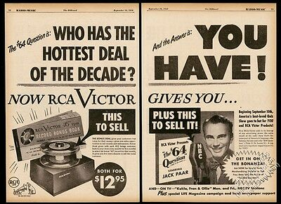 1950 RCA Victor 45RPM record player phonograph Jack Paar photo trade print ad