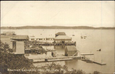 North Haven ME From Chandlers Hill - Docks Harbor Real Photo Postcard