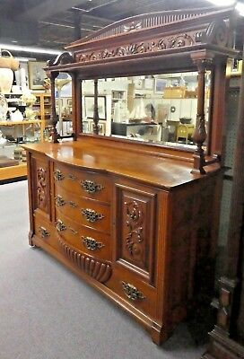 """Antique Carved Cherry Sideboard w/Pediment,4-Drawers 4-Shelves,Mirror. 78""""H 1900"""