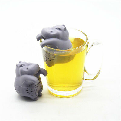 Cute Hippo Silicone Tea Leaves Filter Strainer Herbal Spice Infuser Colander