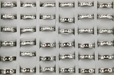 35pcs Wholesale Lots New Fashion Stainless Steel Ring Charming Style Glass AH671