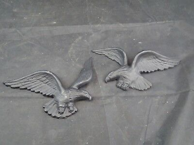 Pair of 2 Vintage Cast Iron Metal Eagle Wall Hanging/ Outdoor  6""