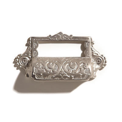 Signature Hardware Ornate Brass Bin Pull with Label Holder