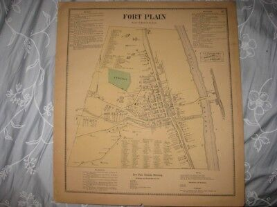 Antique 1868 Fort Plain City Montgomery County New York Handcolored Map Rare Nr