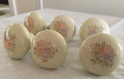 Set Of 6 Cream Color Porcelain Drawer Cabinet Vintage Knobs Pale Pastel Bouquet