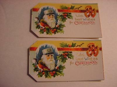 Vintage Antique NOS  Lot of 2 Embossed CHRISTMAS Gift Tags:Santa in Military Hat