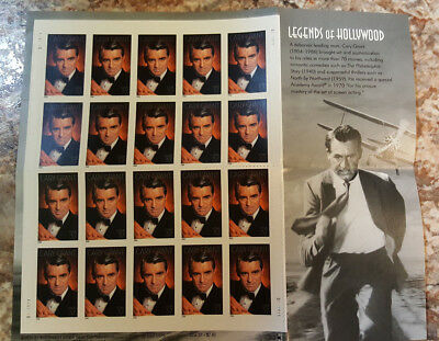 Cary Grant USPS Legends of Hollywood 37 cent Sheet of 20 $7.40 FV Free Shipping