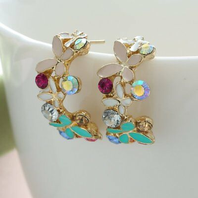 1 Pair Fashion Women Lady Elegant Crystal Rhinestone Ear Stud Earrings Jewelry
