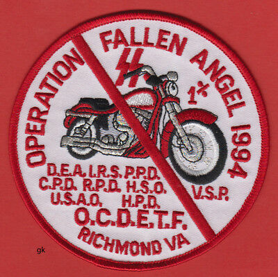 Operation Fallen Angel 1994 Richmond Va Drug Enforcement Police Ocdetf Patch